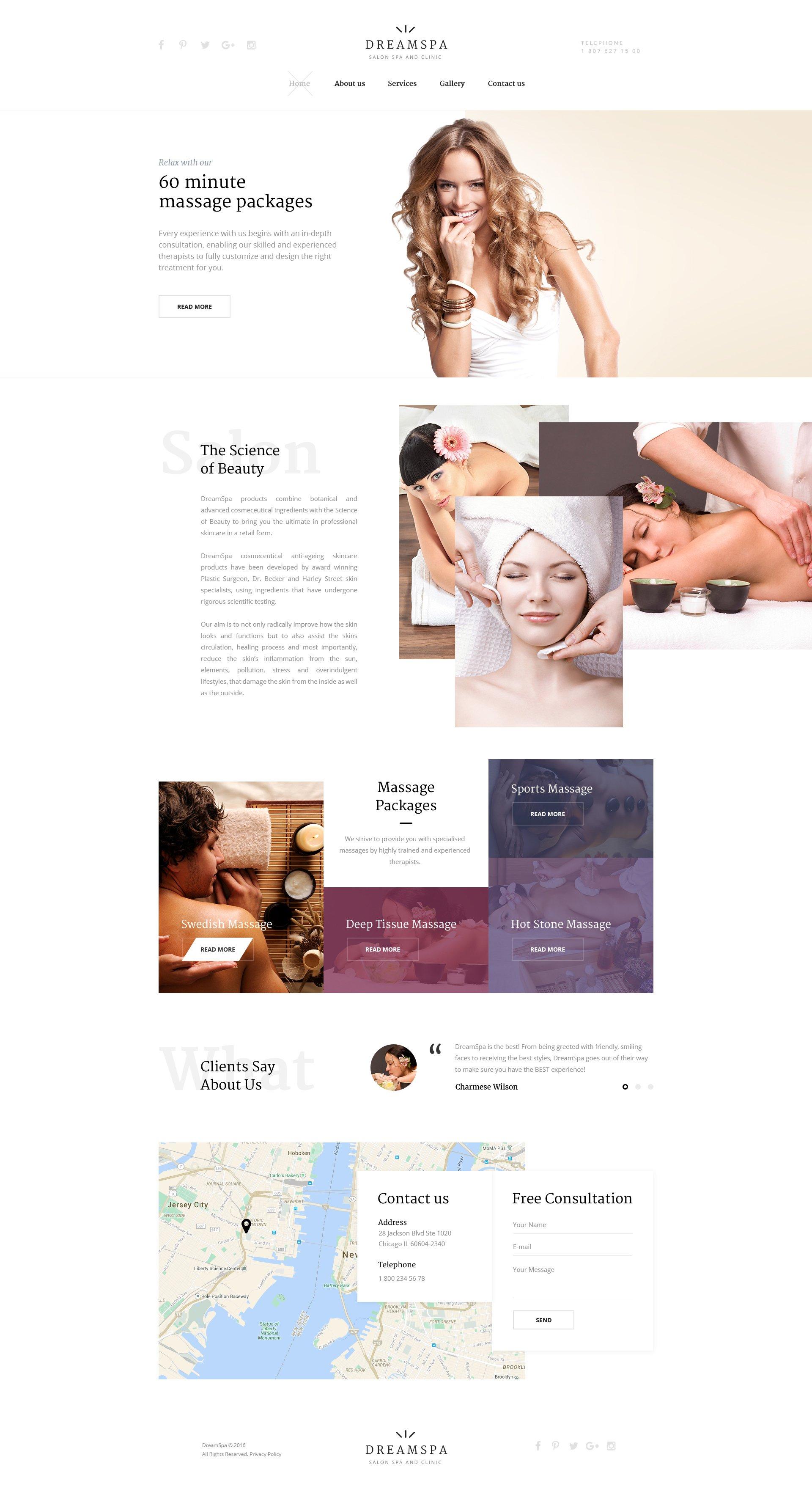 Reszponzív Dream Spa Weboldal sablon 58327