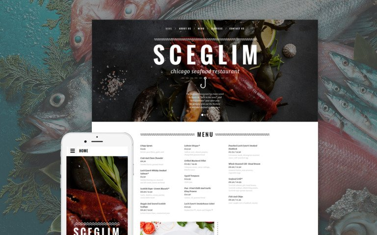 Seafood Restaurant Responsive Website Template New Screenshots BIG