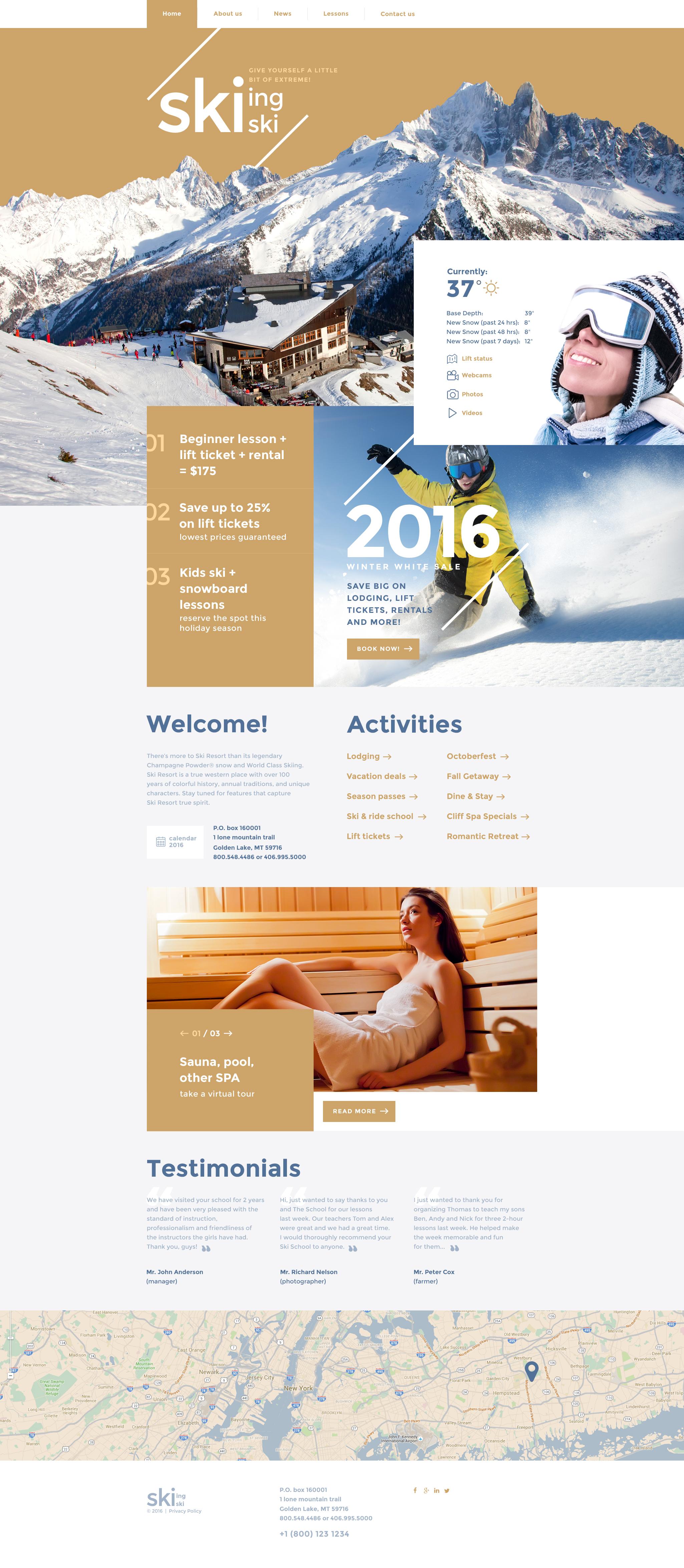 """""""Skiing"""" - адаптивний Шаблон сайту №58324"""