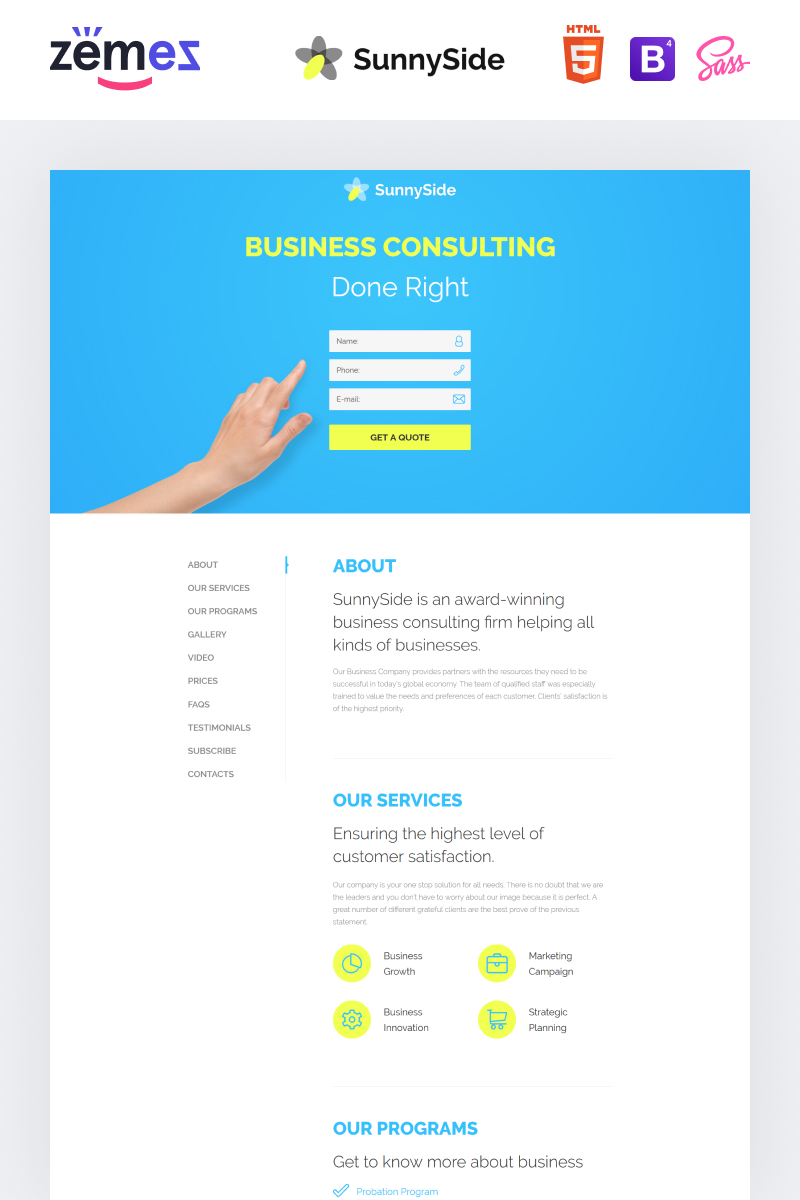 SunnySide - Design Studio Minimal HTML №58374 - скриншот
