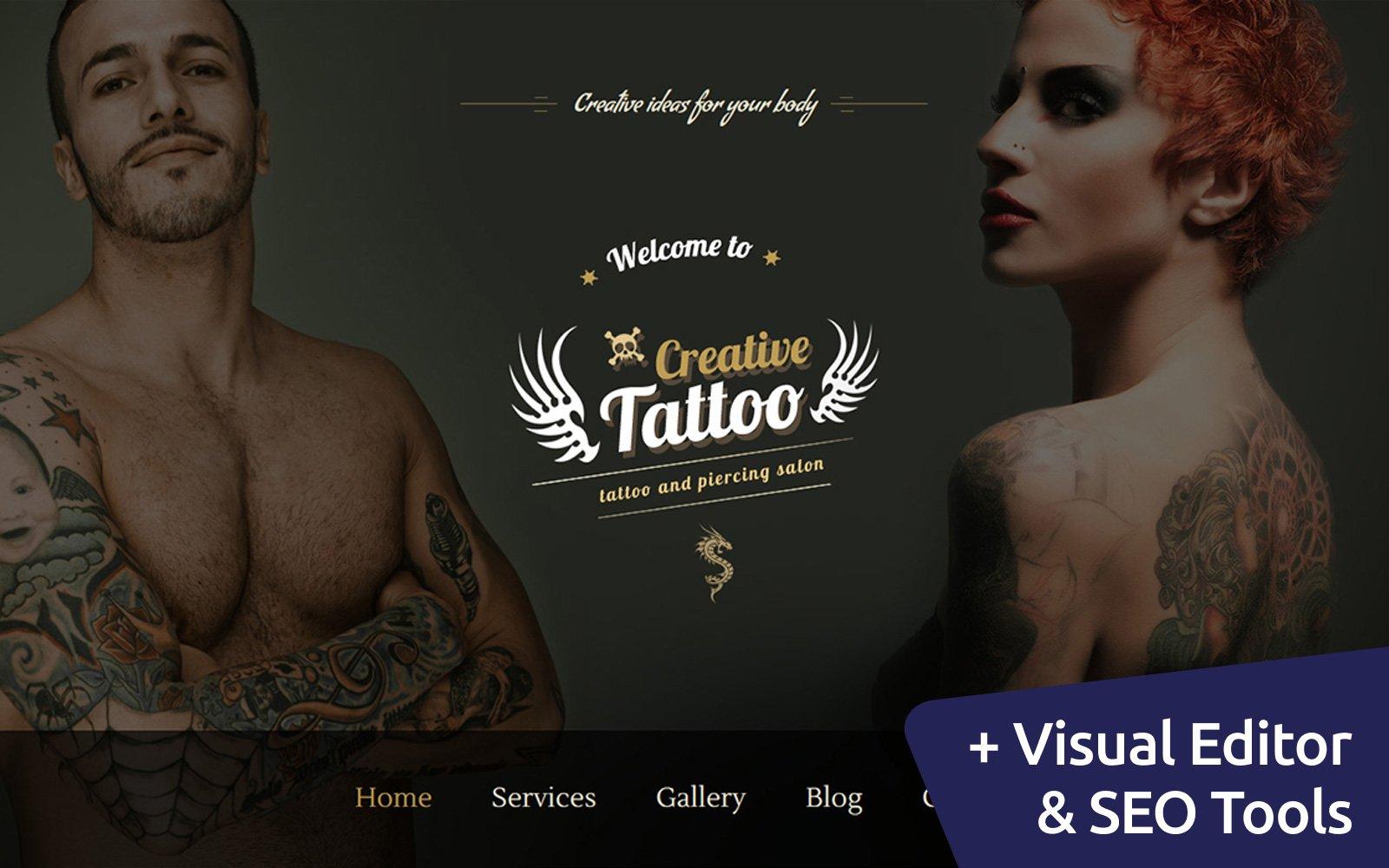 """""""Tattoo & Piercing"""" 响应式Moto CMS 3 模板 #58352"""