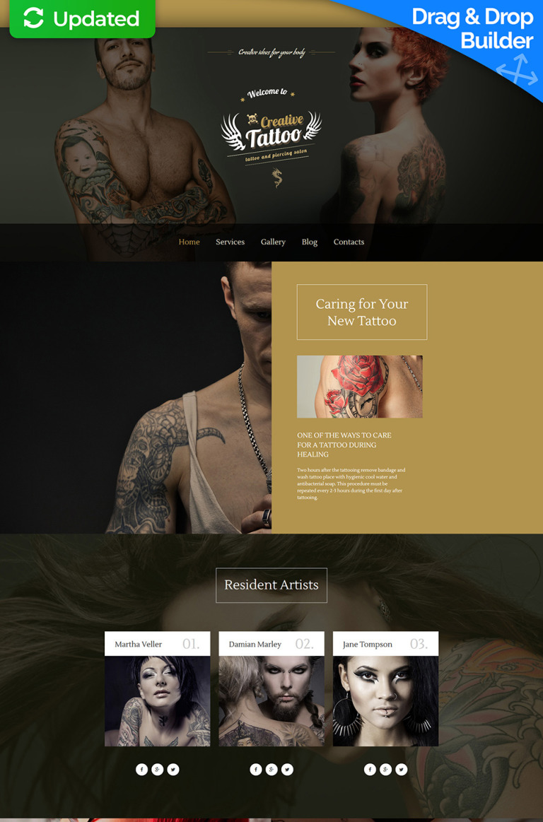 Tattoo Salon Responsive Moto CMS 3 Template New Screenshots BIG