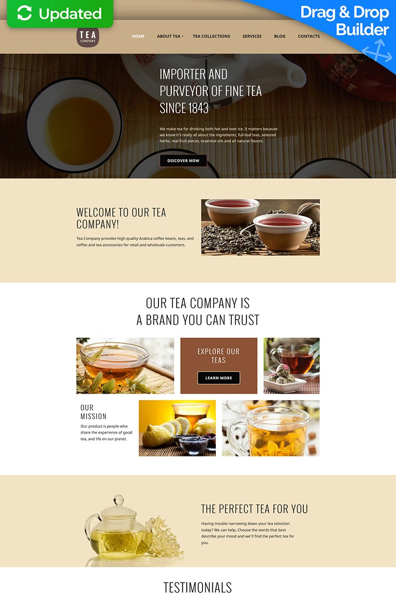 Tea Shop Responsive Moto CMS 3 Template