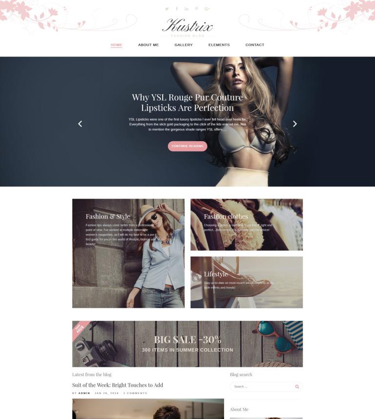 Tema de WordPress #58389 para Sitio de Bloges de moda