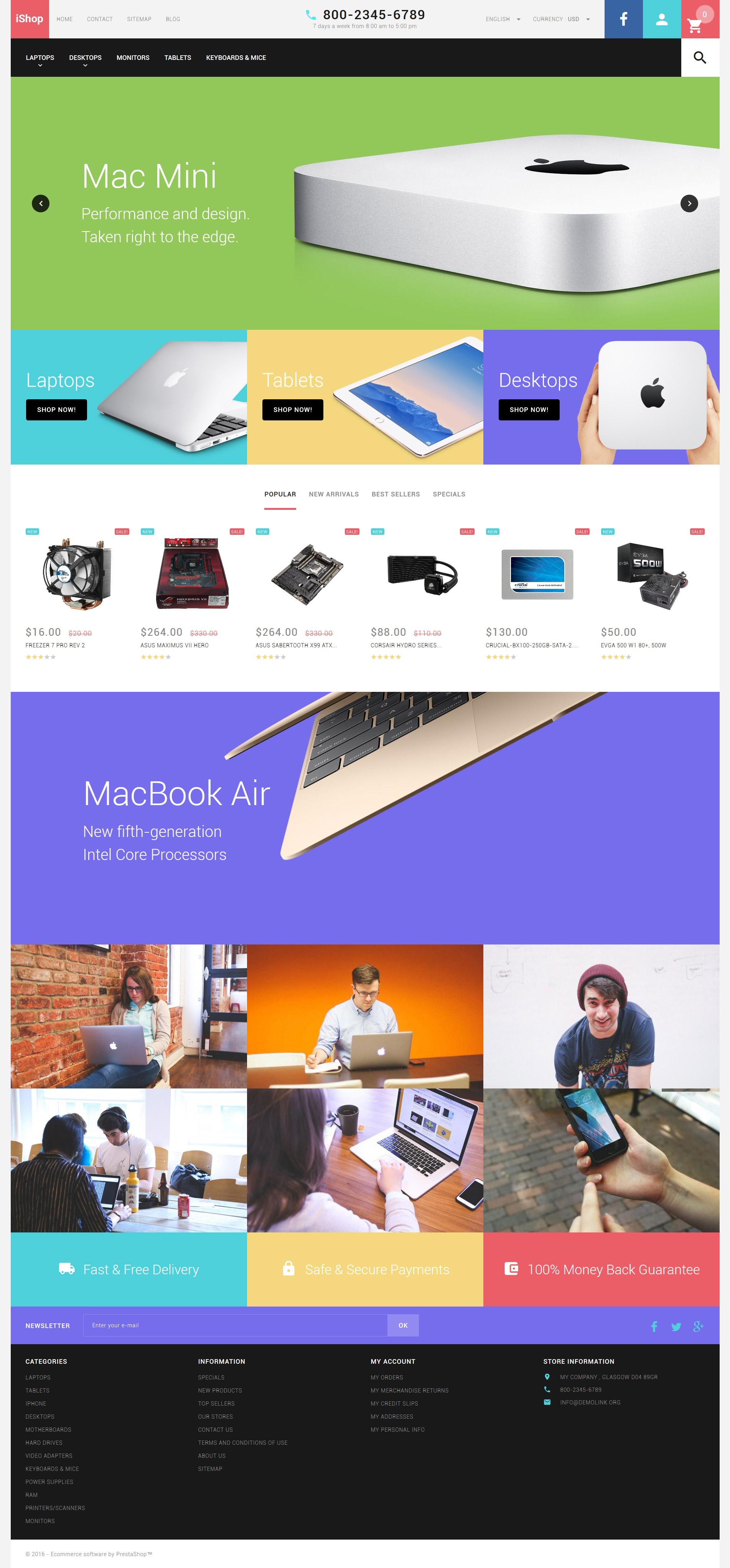 Thème PrestaShop adaptatif pour boutique informatique #58338