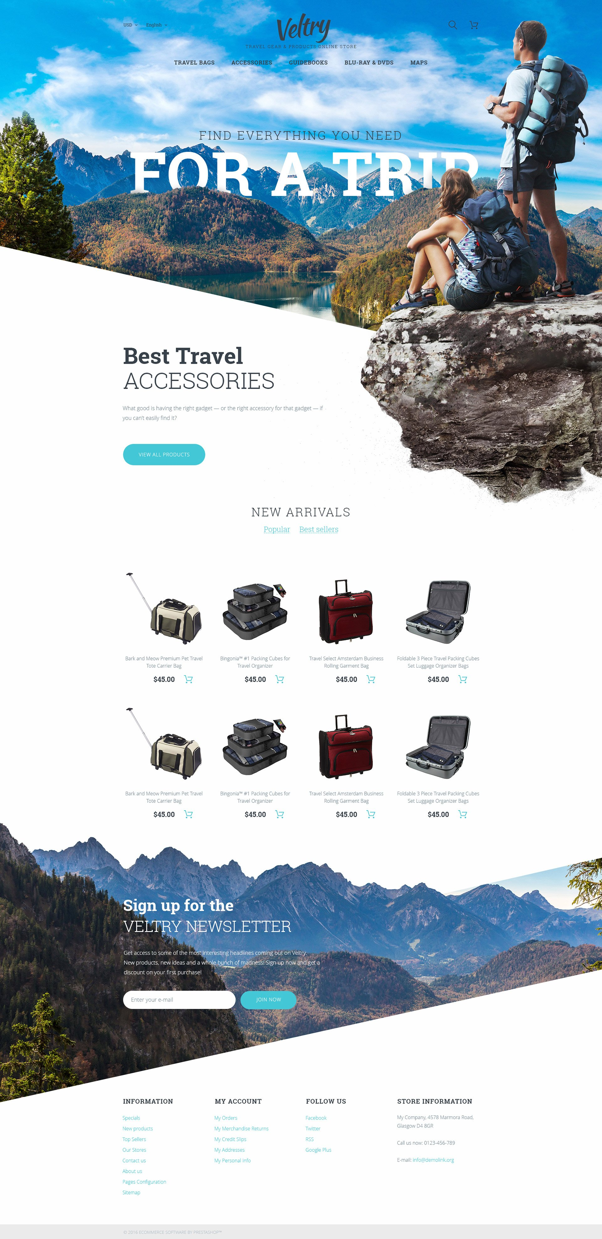 Veltry - Travel Store PrestaShop Theme - screenshot