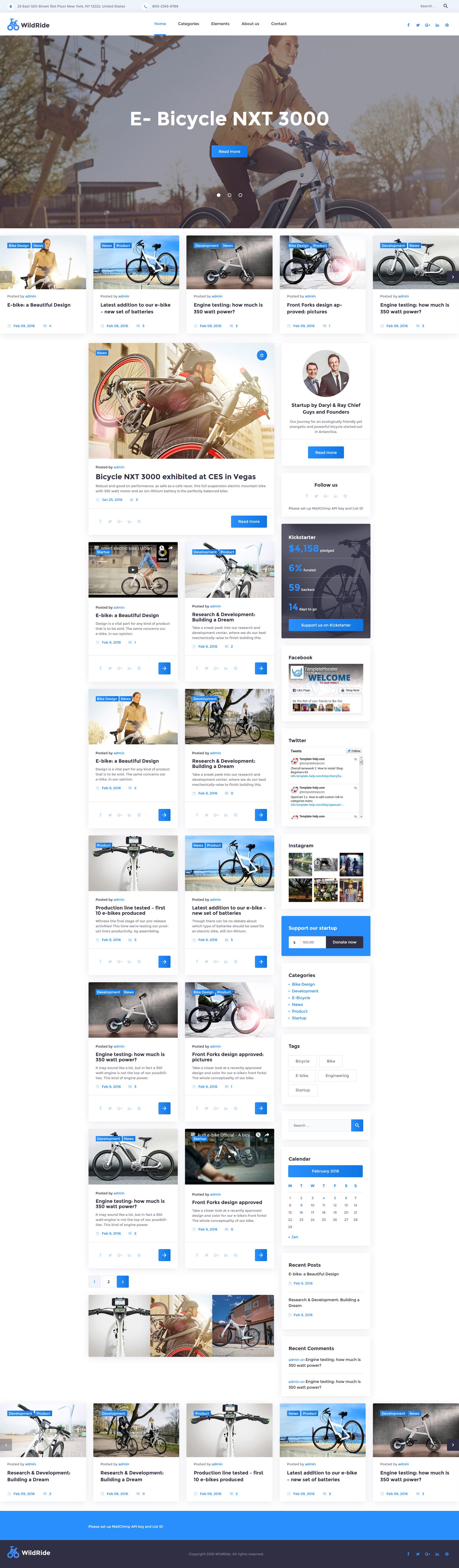 """WildRide - Sports Bicycle"" 响应式WordPress模板 #58378"