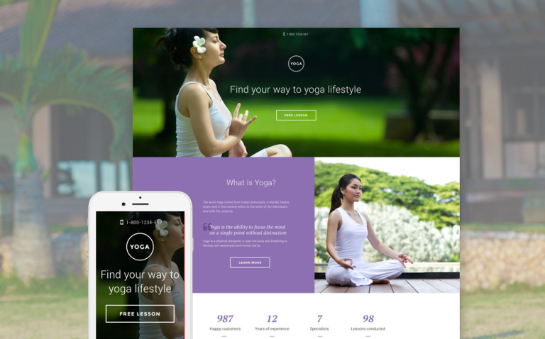 Yoga Responsive Landing Page Template New Screenshots BIG