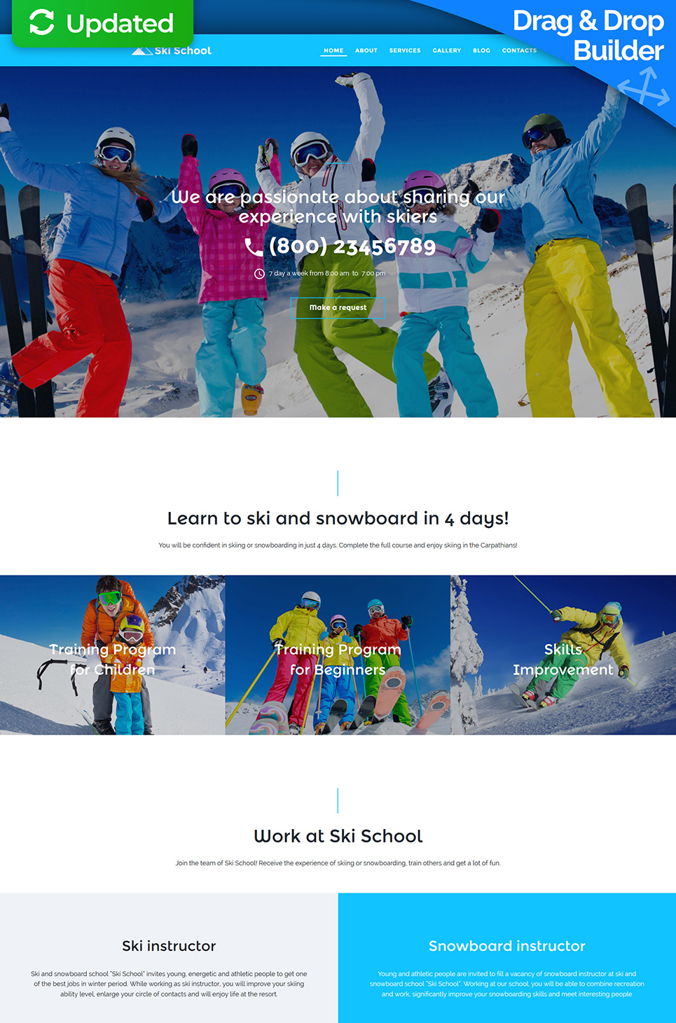 Snowboard courses site template