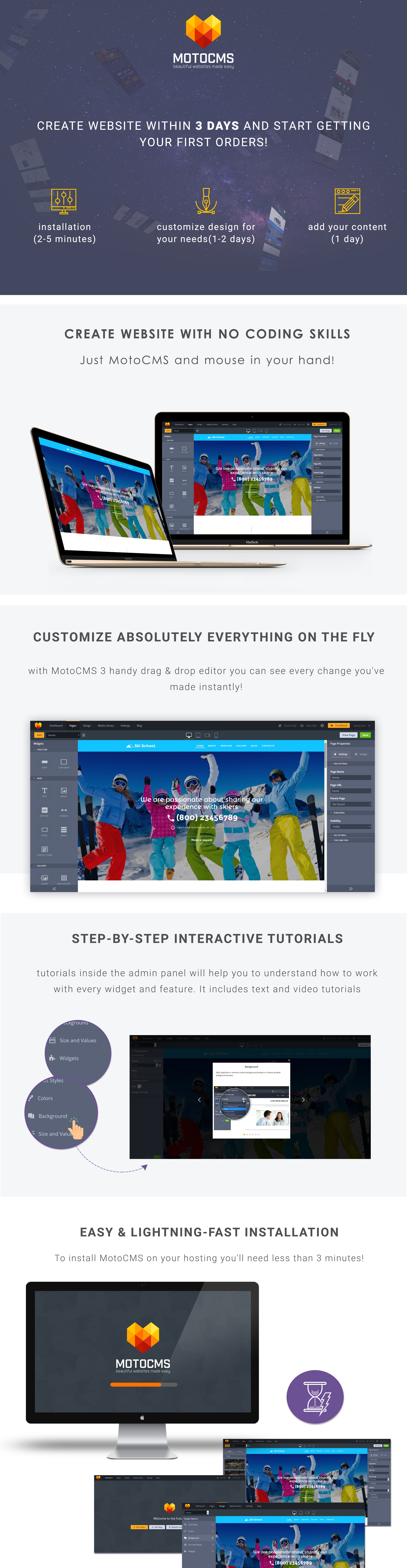 Ski School Responsive Moto CMS 3 Template Lazy Load Effects, Blog