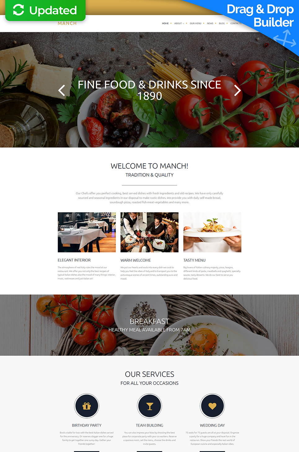 Responsive cafe site with stock photos