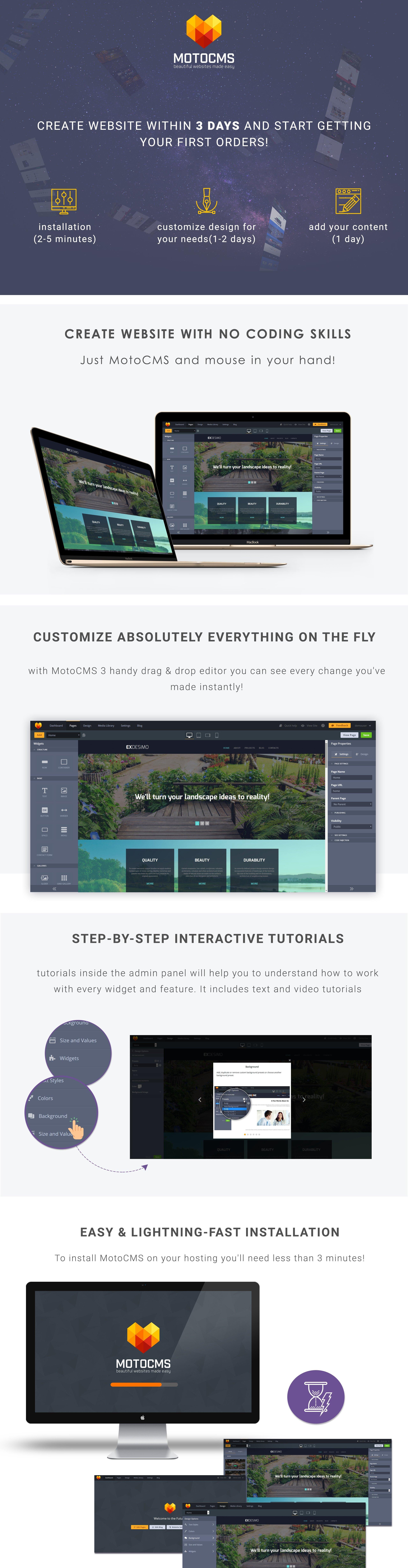 Exdesimo Exterior Design Garden Responsive Moto CMS 3 Template
