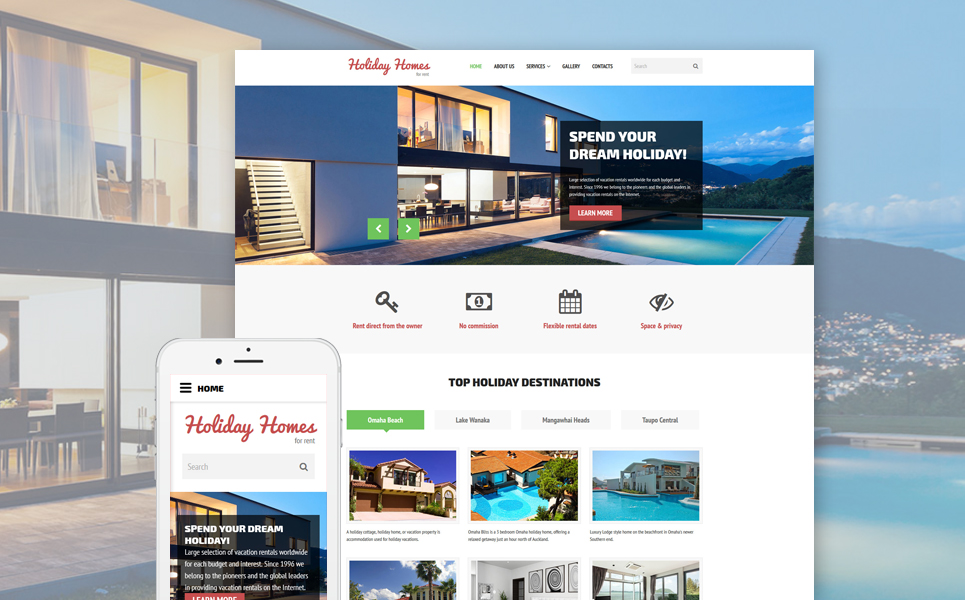 Holiday Homes for Rent template illustration image