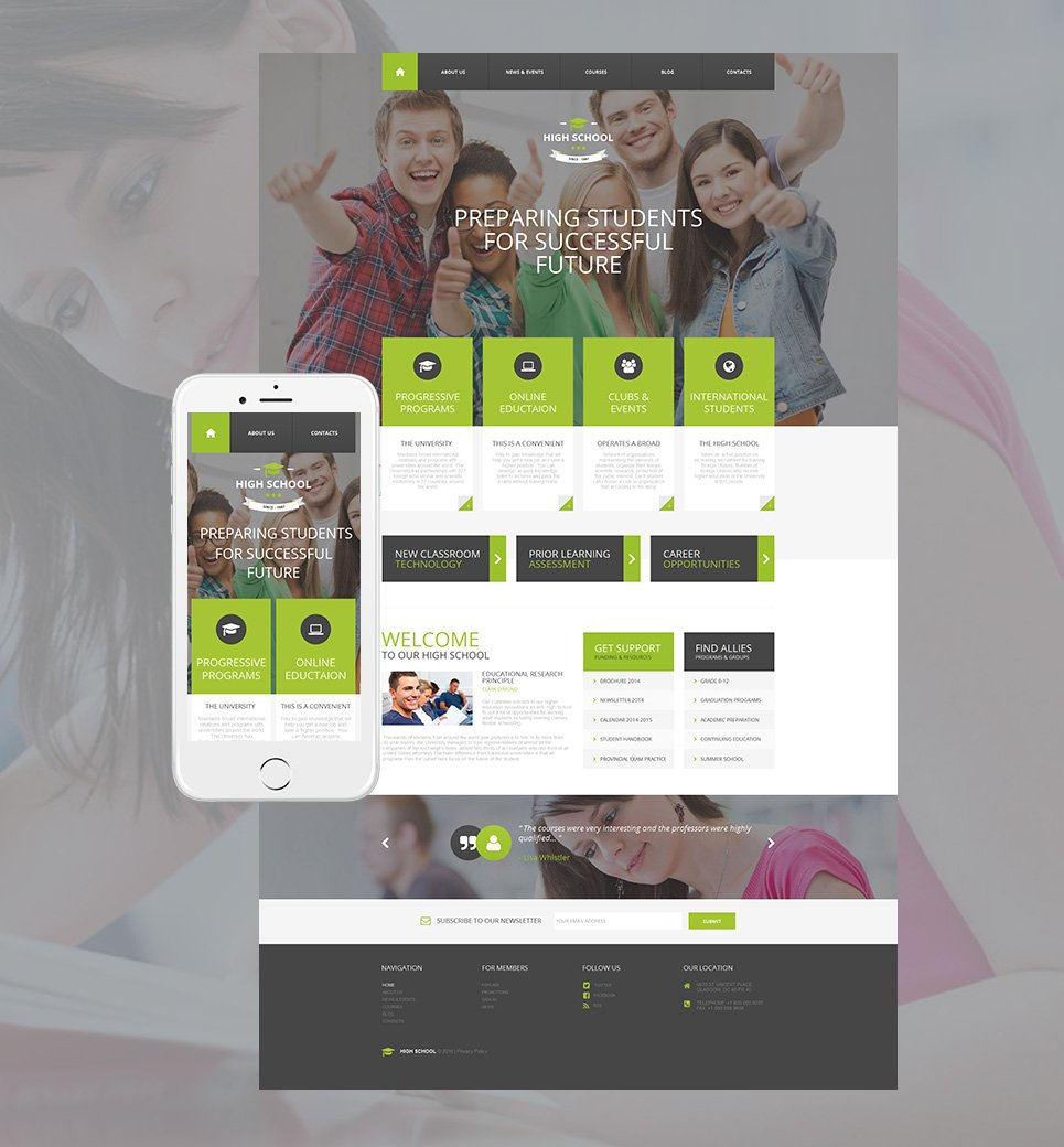 New High School HTML Website Template - image