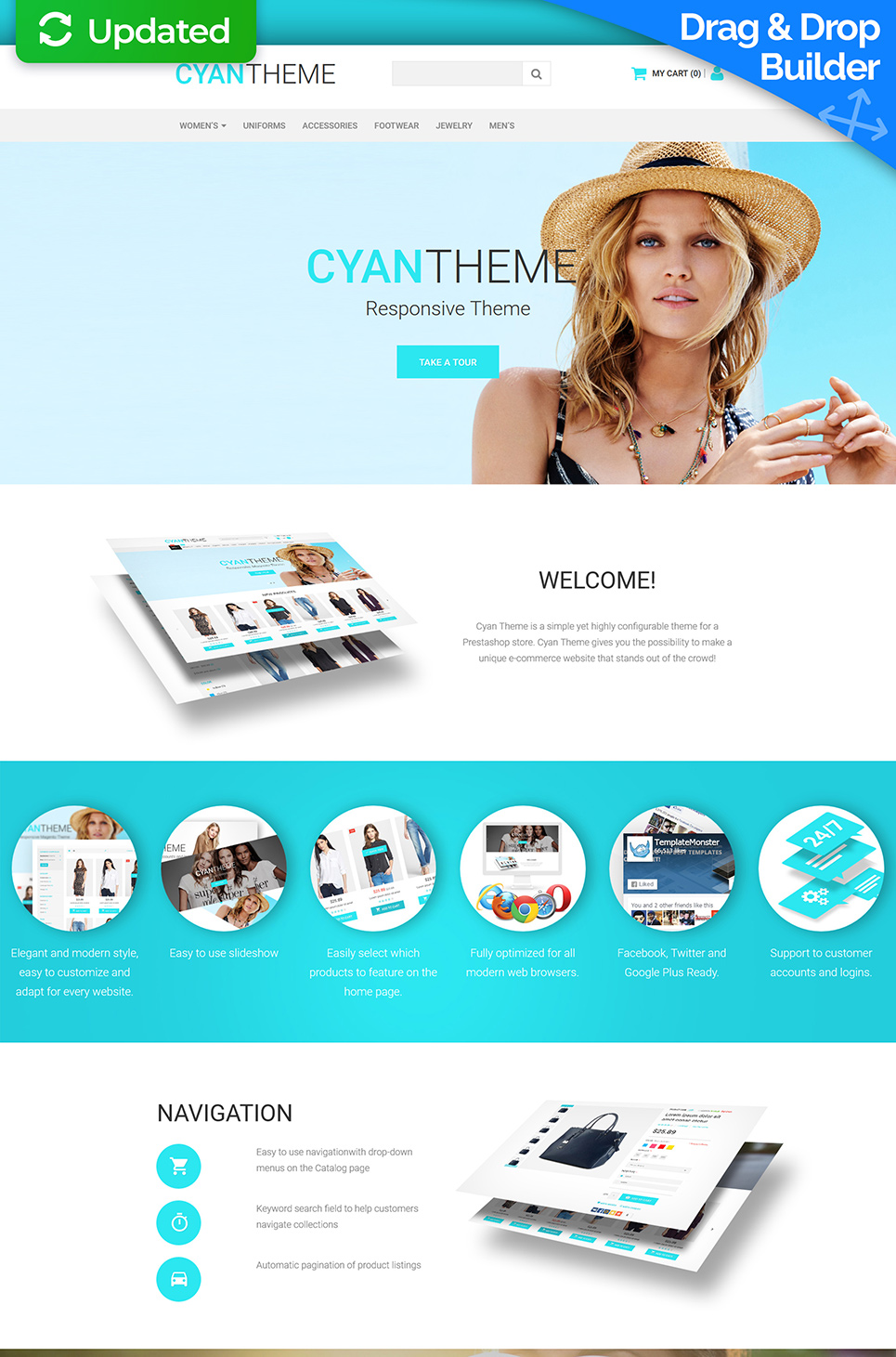 Cyan Theme Ecommerce Website Template - image