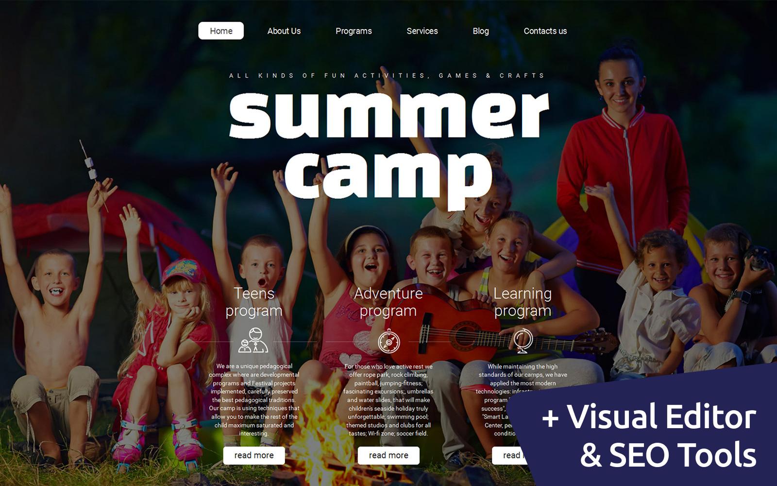 Адаптивный MotoCMS 3 шаблон №58416 на тему летний лагерь