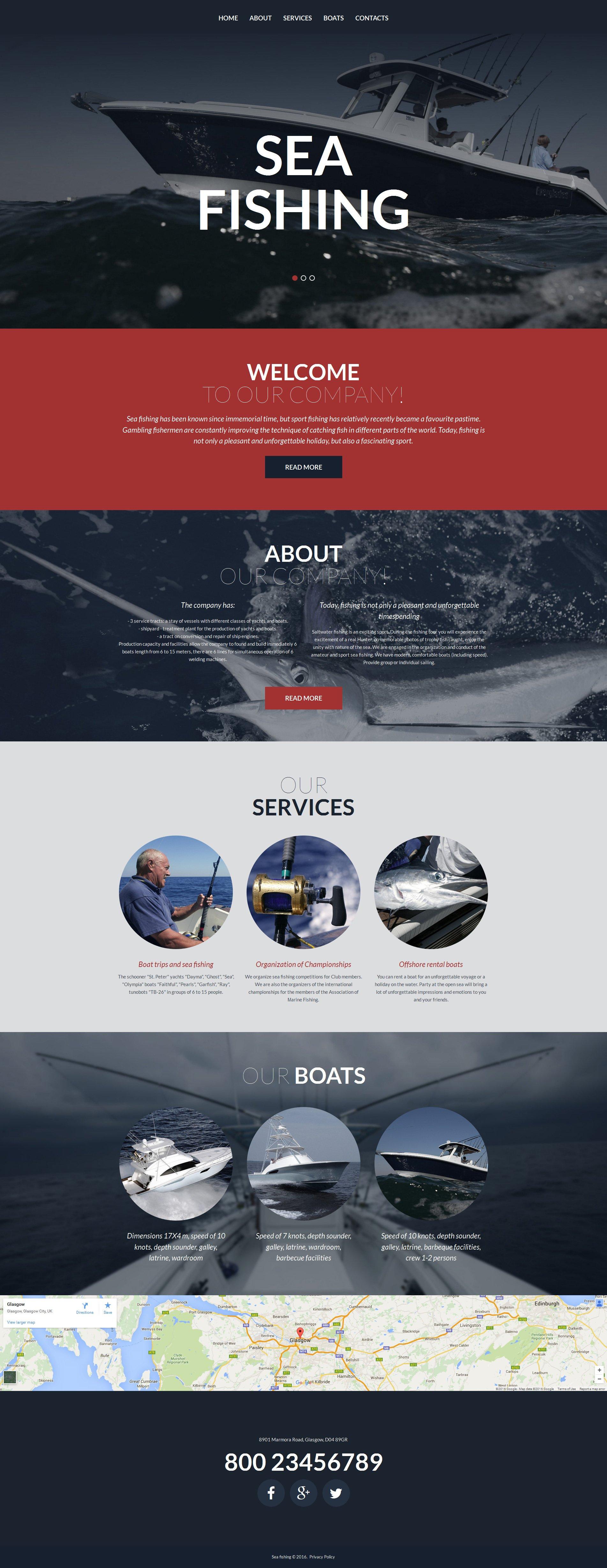 Адаптивный MotoCMS 3 шаблон №58427 на тему рыбалка - скриншот
