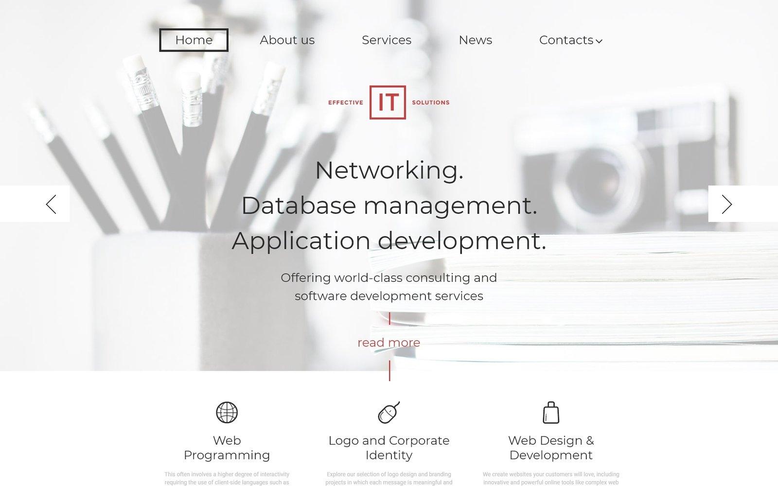 Адаптивный шаблон сайта на тему информационные технологии #58454
