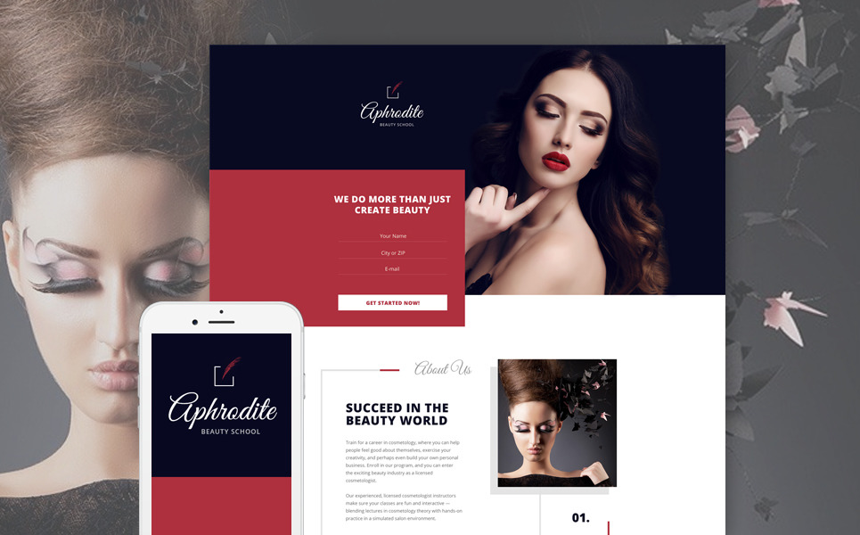 Beauty School Landing Page Template New Screenshots BIG