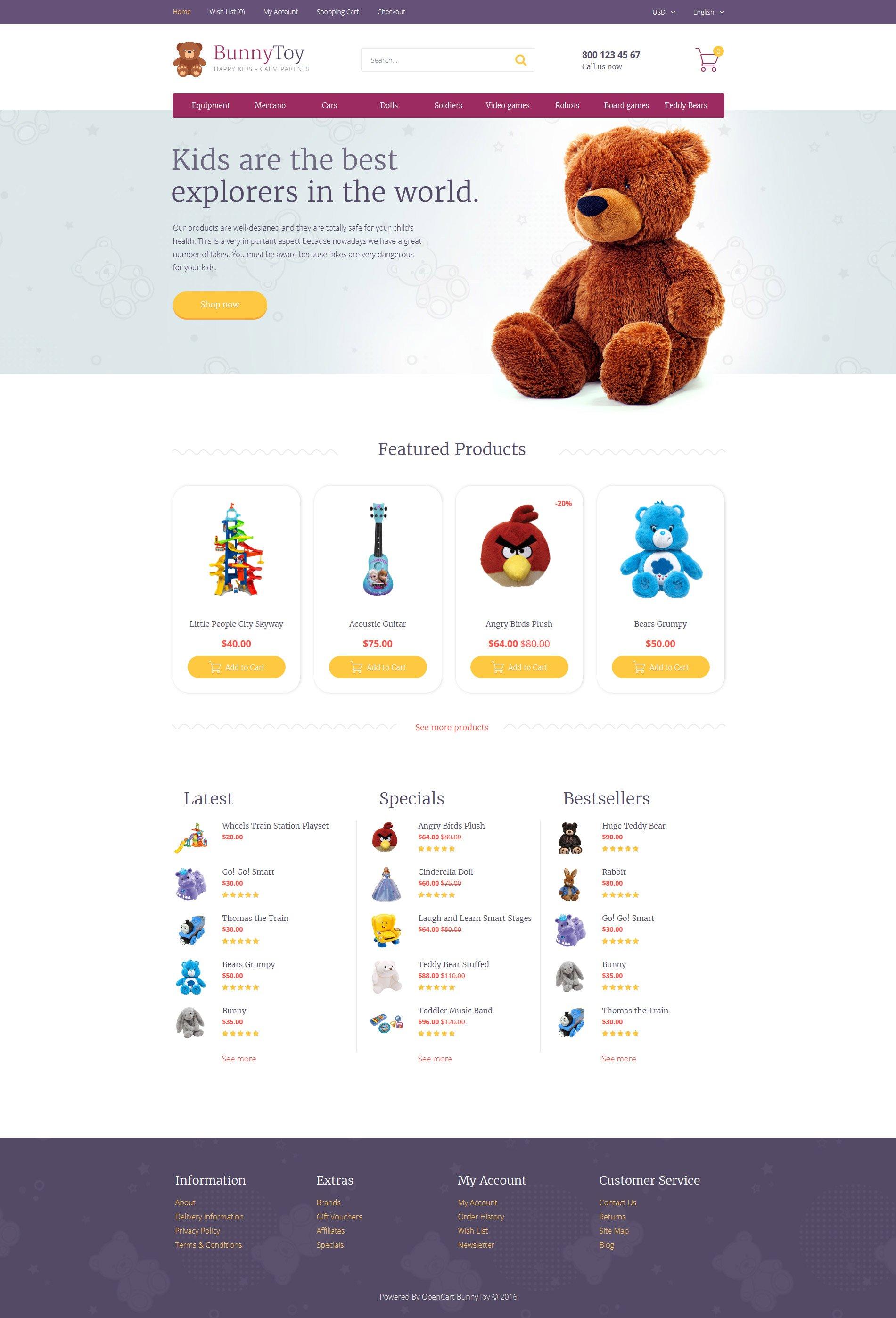 """Bunny Toy"" - адаптивний OpenCart шаблон №58451"