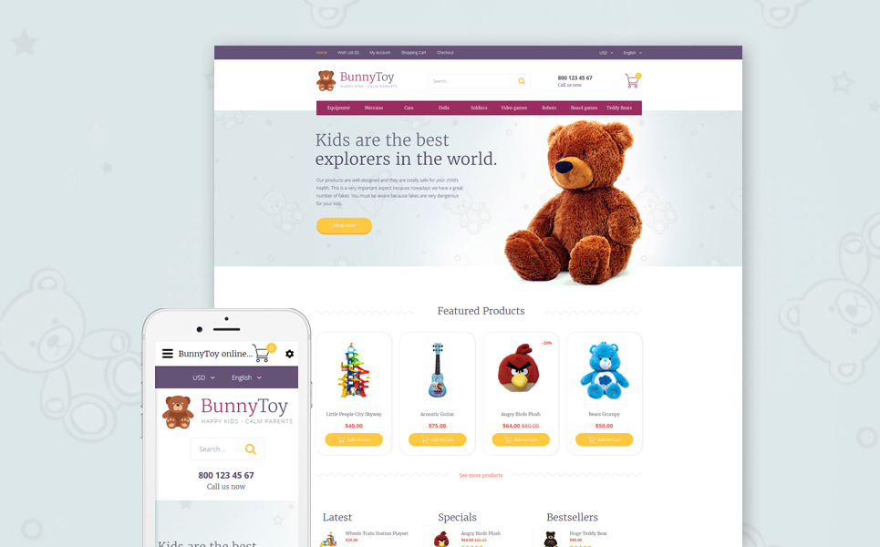 Bunny Toy OpenCart Template New Screenshots BIG