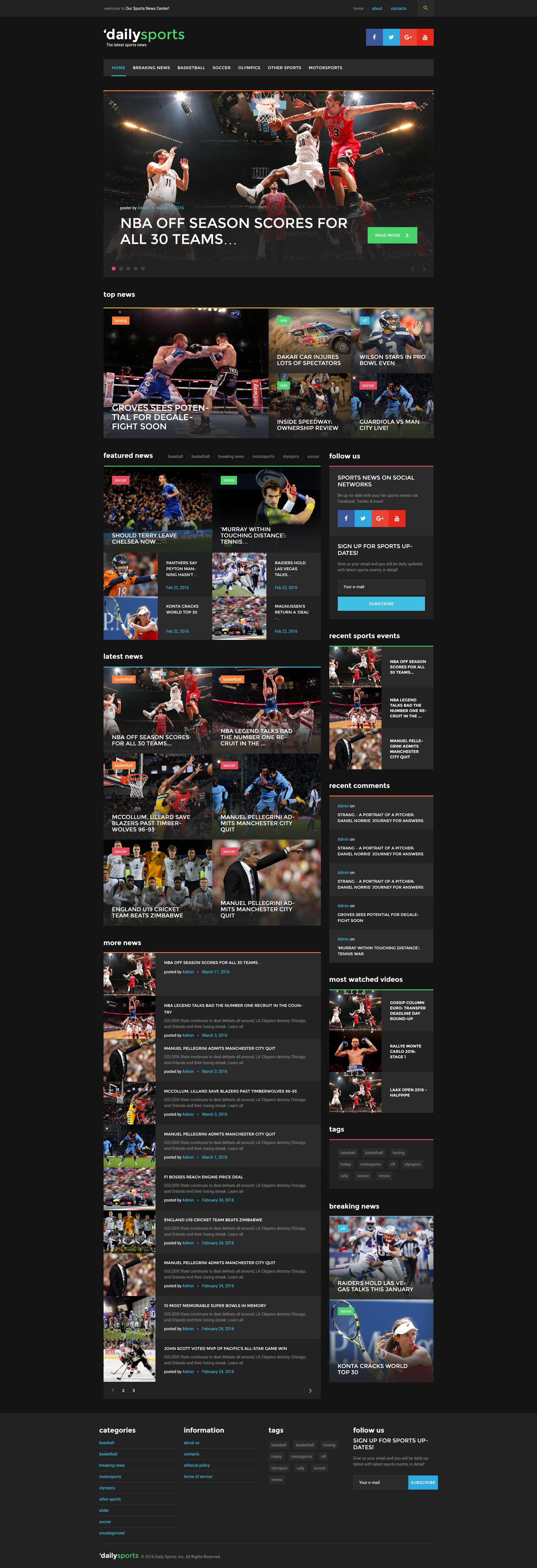 """DailySports - Sport Magazine"" Responsive WordPress thema №58446"