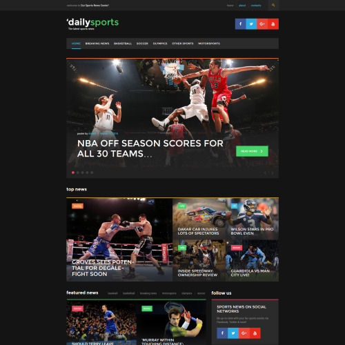 DailySports  - WordPress Template based on Bootstrap