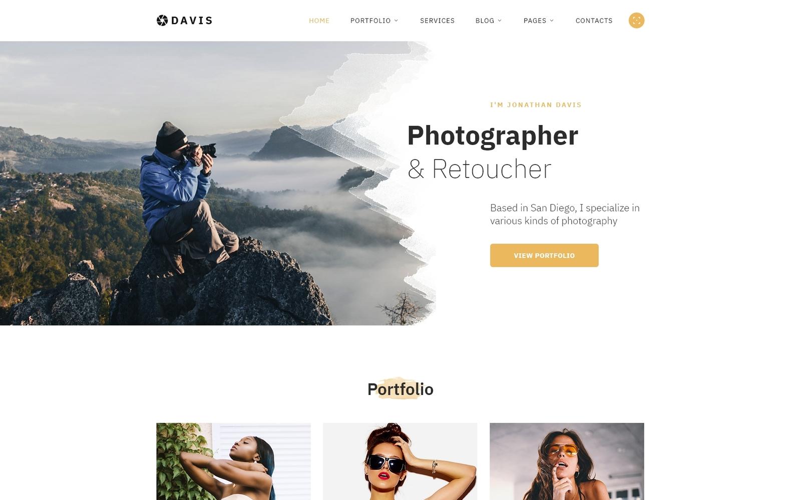 """Davis - Photographer Portfolio Multipage HTML5"" - адаптивний Шаблон сайту №58439"