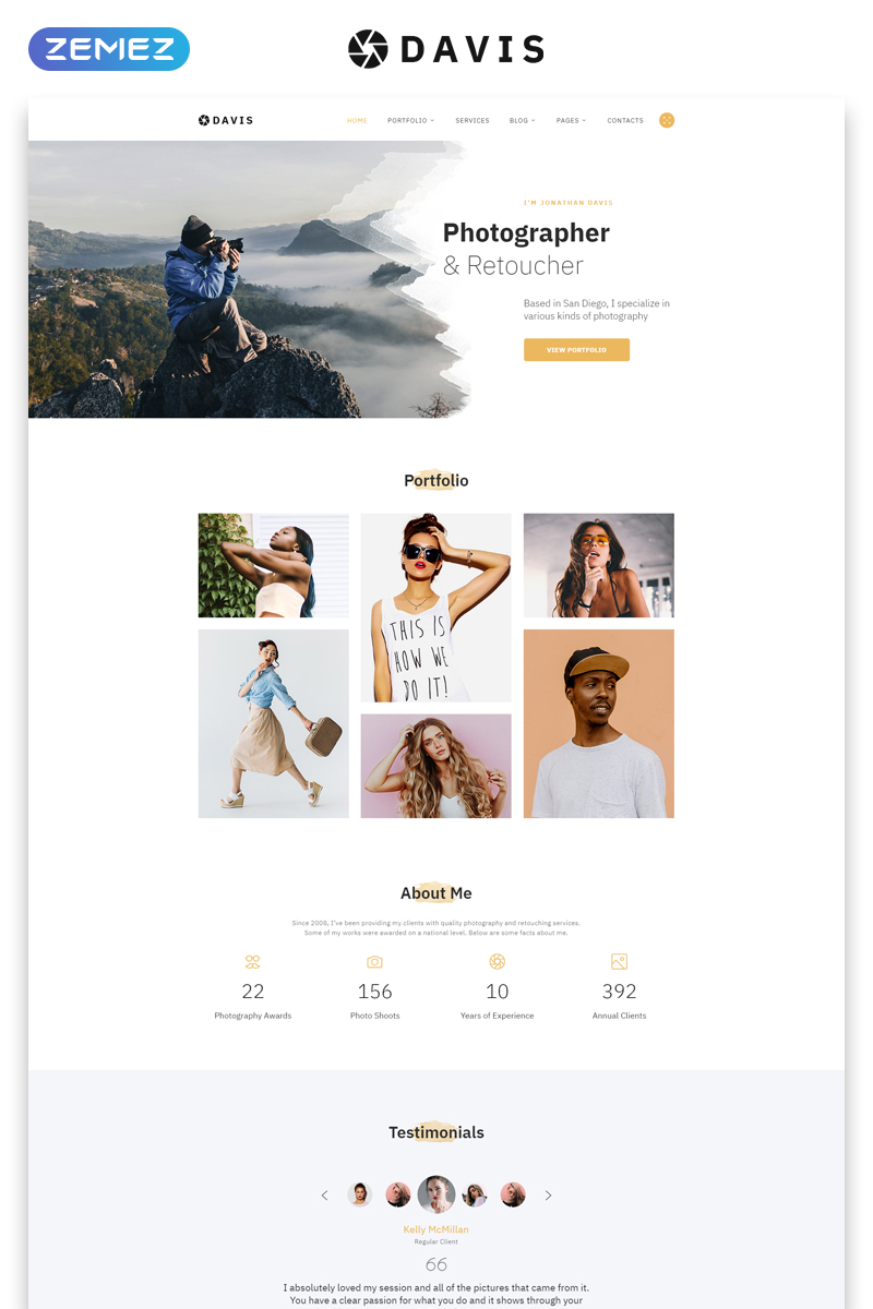 """Davis - Photographer Portfolio Multipage HTML5"" Responsive Website template №58439"