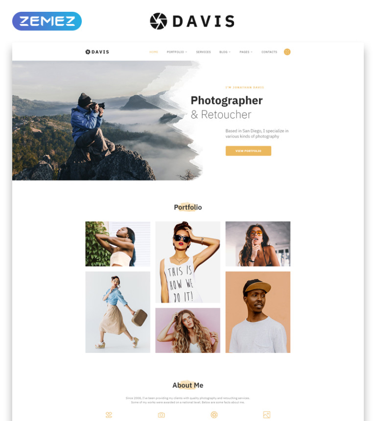 Davis - Photographer Portfolio Multipage HTML5 Website Template