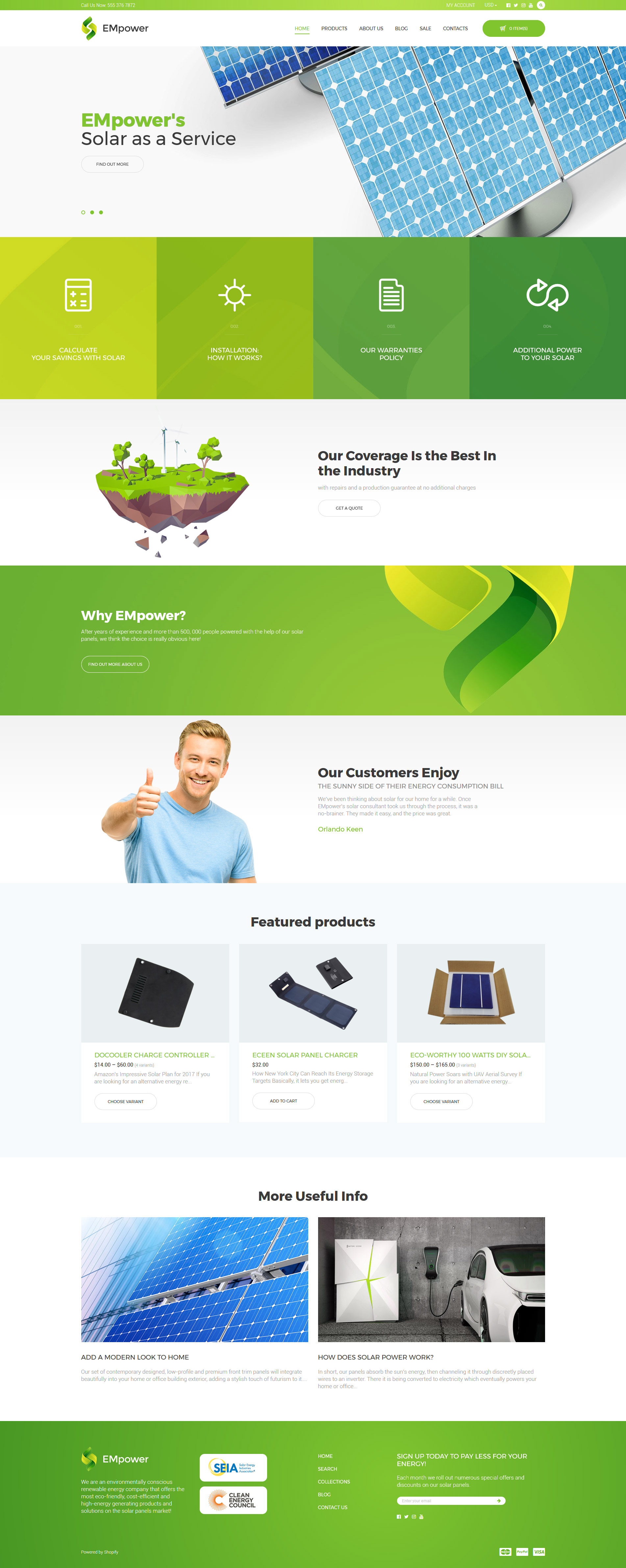 """EMpower - Solar Energy"" Responsive Shopify Thema №58455"
