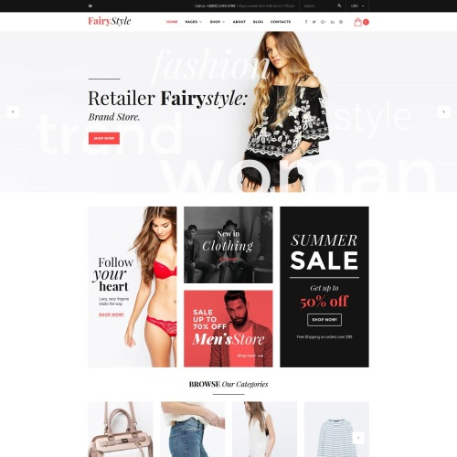 Fairy Style Fashion Store - Responsive WooCommerce Template