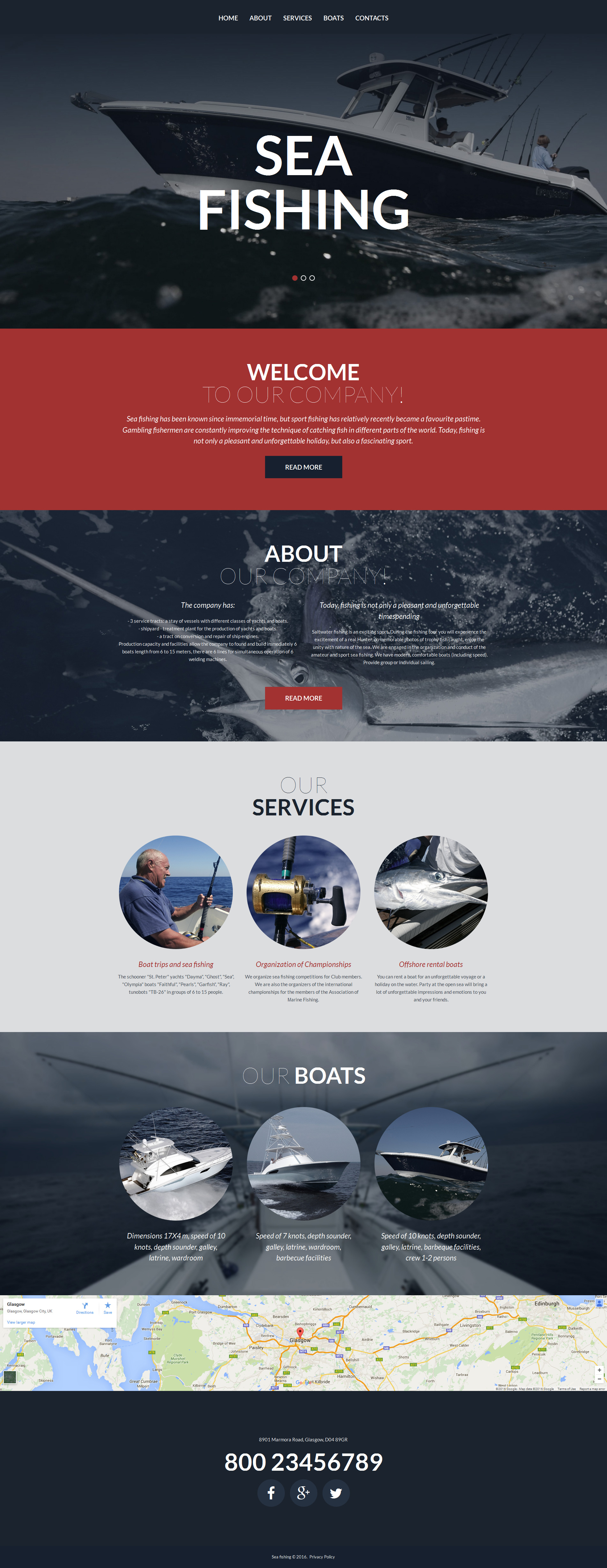 Fishing Responsive Moto CMS 3 Template