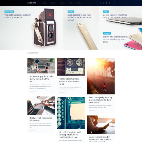 Gadnews  - WordPress Template based on Bootstrap