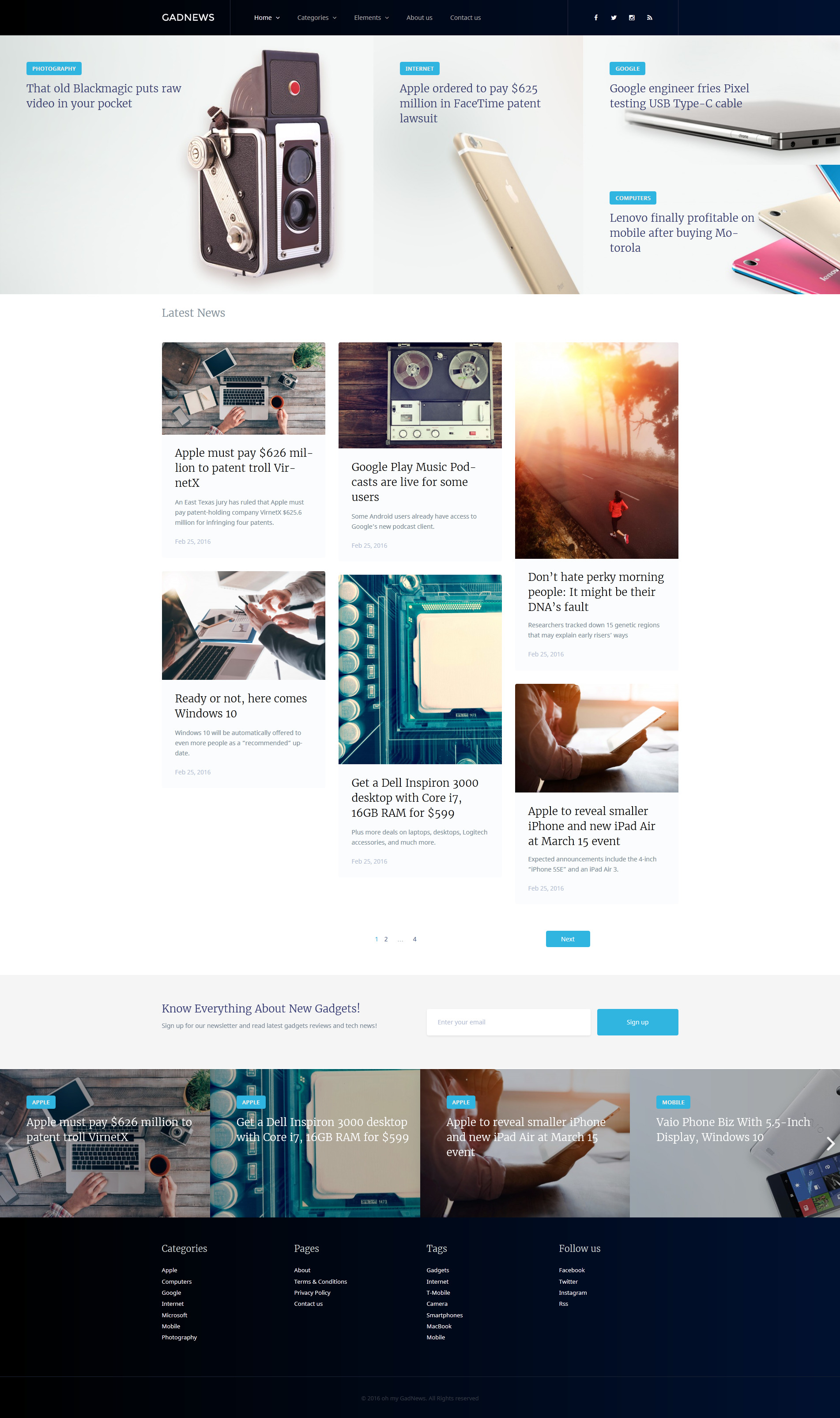 """Gadnews - Technology Review Magazine"" 响应式WordPress模板 #58445"