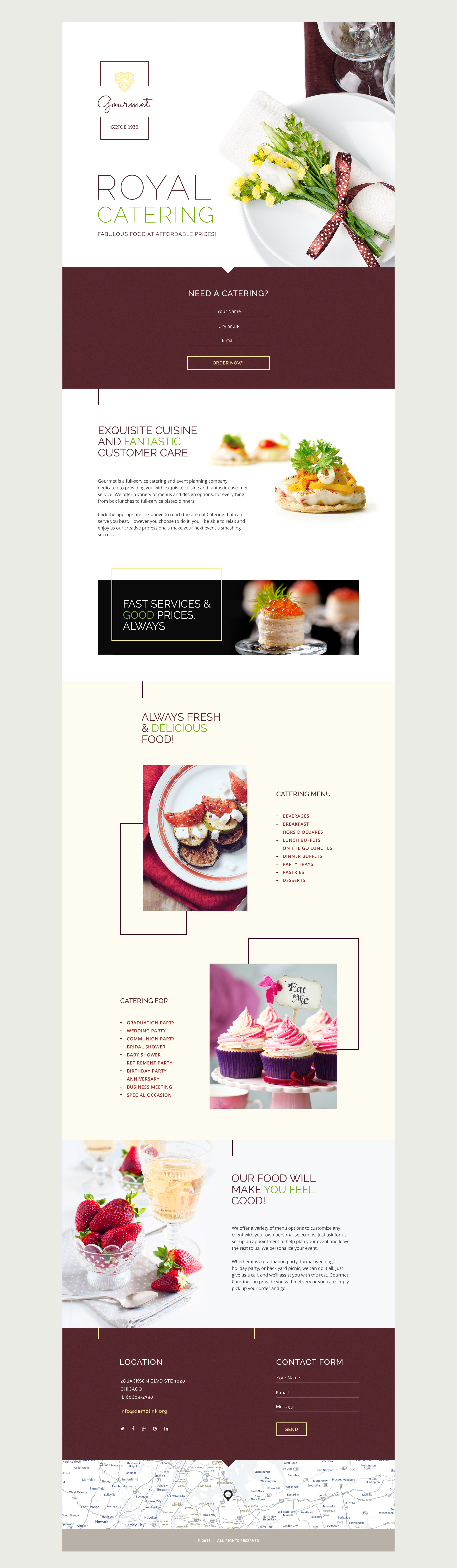 """""""Gourmet"""" 响应式着陆页模板 #58458 - 截图"""