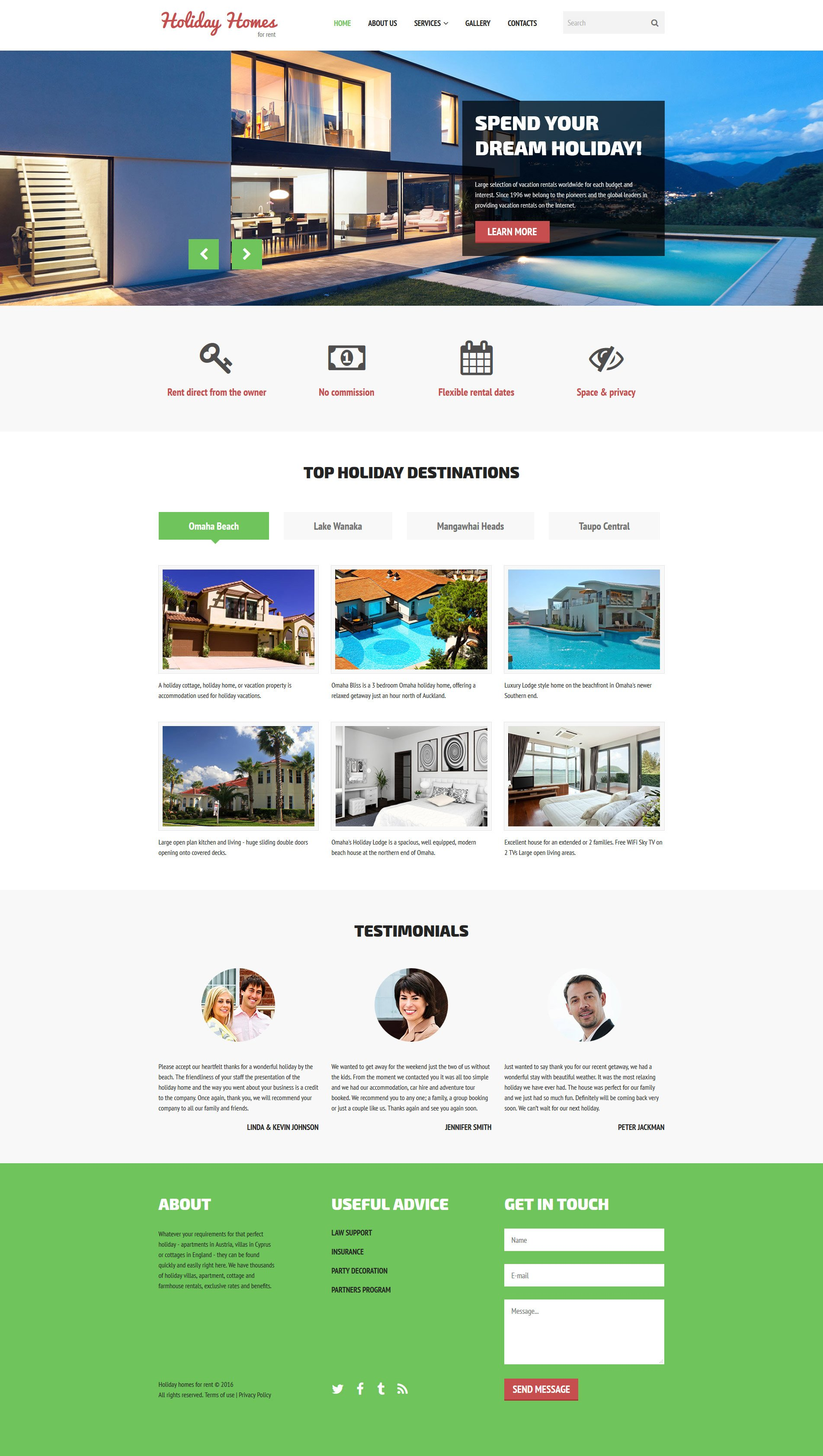 Home rent website template for The make room website