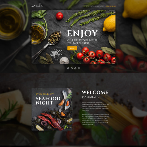 Majestic - Responsive Restaurant Landing Page Template