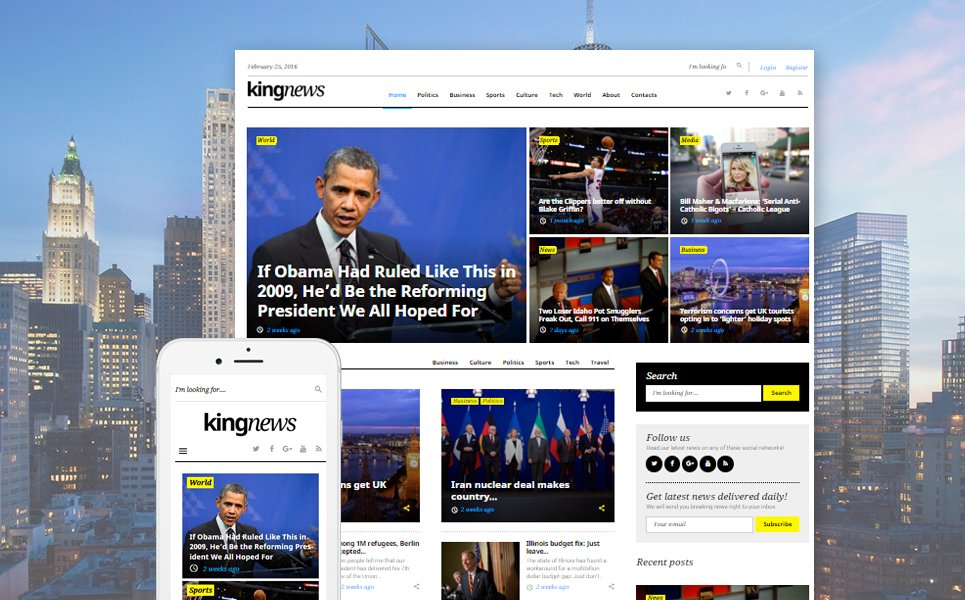 """KingNews - pour magazine, journal et blog"" thème WordPress adaptatif #58404 - screenshot"