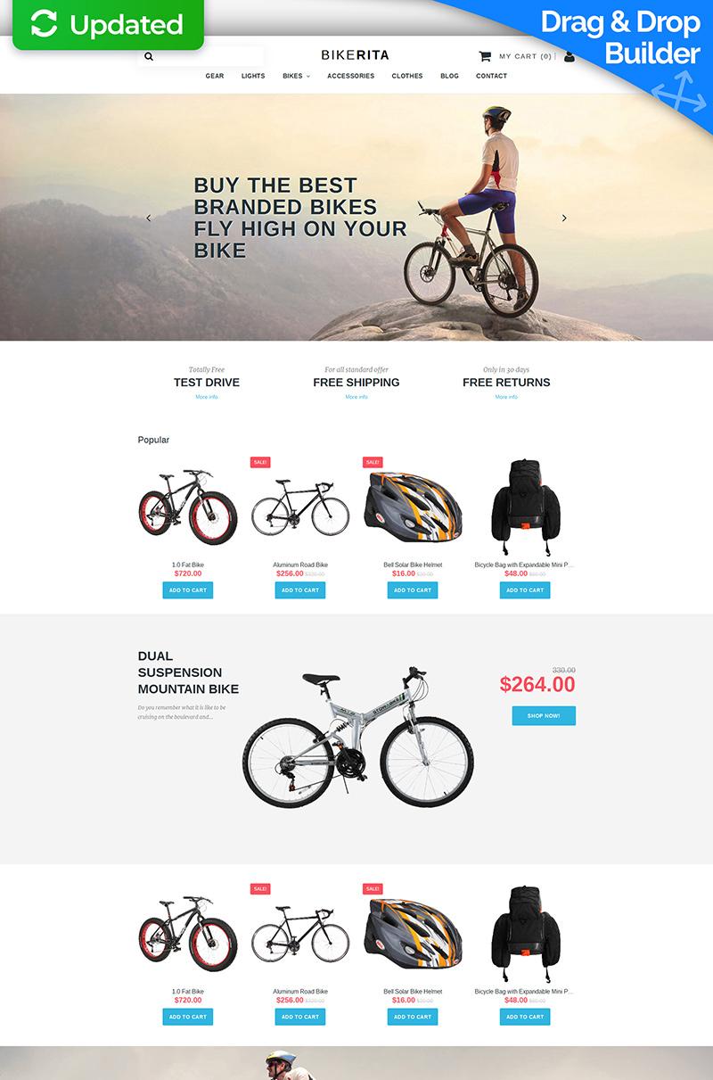 Modello MotoCMS E-commerce Responsive #58490 per Un Sito di Ciclismo