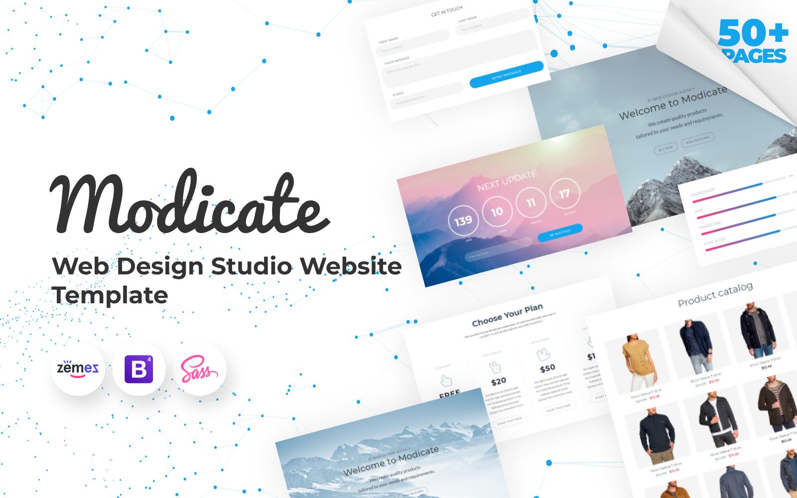 """""""Modicate - Web Design Studio Website Template"""" 响应式网页模板 #58434"""