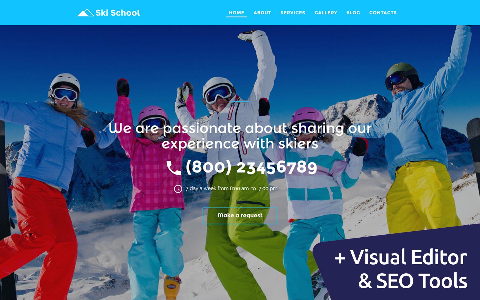 "Moto CMS 3 Template namens ""Snowboarding & Ski School"" #58423"