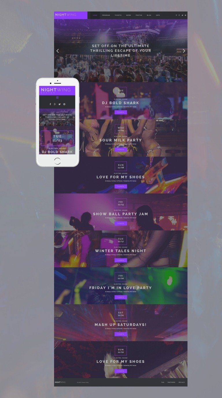 Night Club Responsive Moto CMS 3 Template New Screenshots BIG