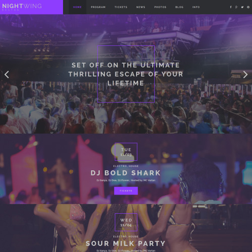 Night Wing - Night Club Template based on Bootstrap