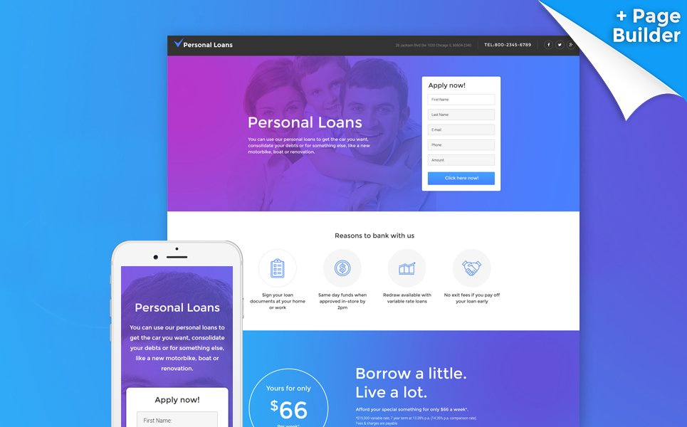 Financial Advisor Responsive Landing Page Template #58478