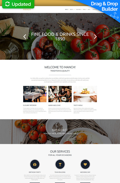 Responsive Plantilla Moto CMS 3  #58431 para Sitio de  para Sitio de Cafeterías y Restaurantes