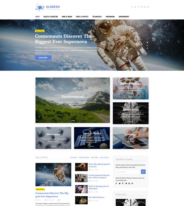 Tema de WordPress #58459 para Sitio de Astronomía