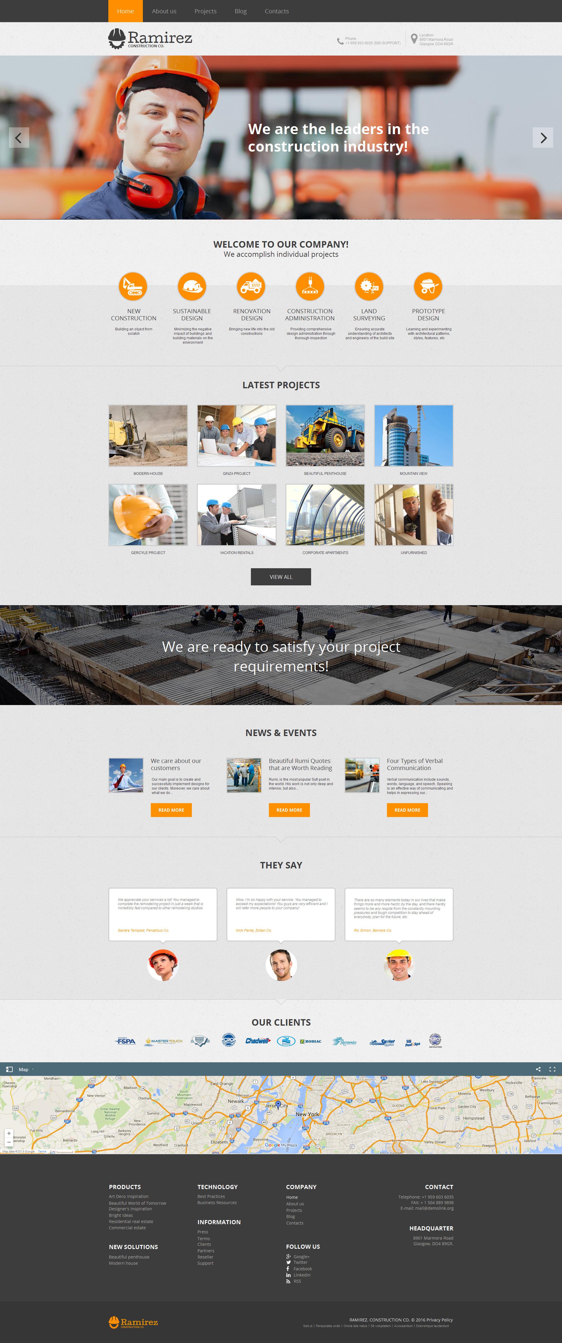 Prémium Építőipari vállalatok témakörű Moto CMS HTML sablon 58472