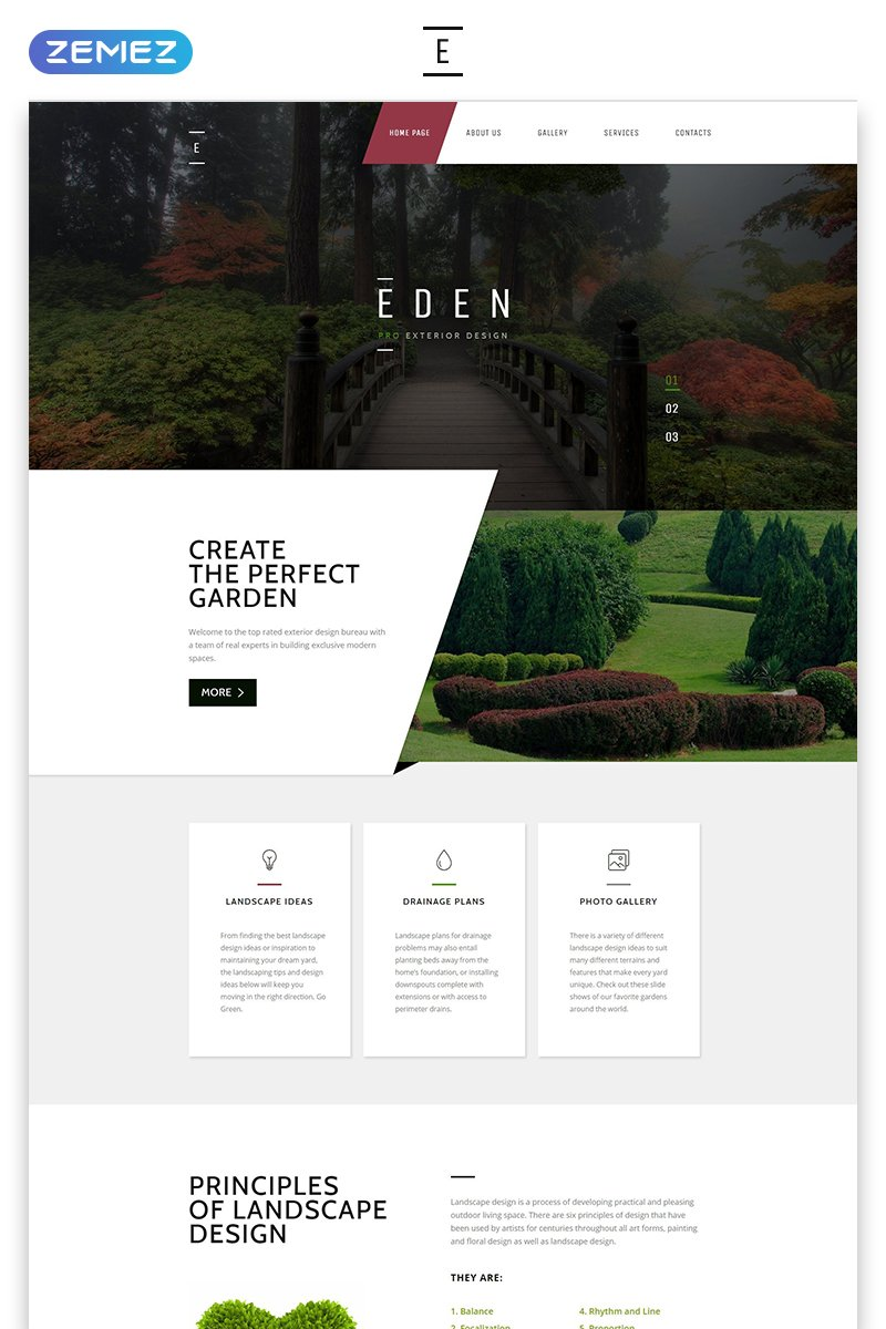 Responsive Eden - Exterior Design Modern Responsive HTML Web Sitesi #58440