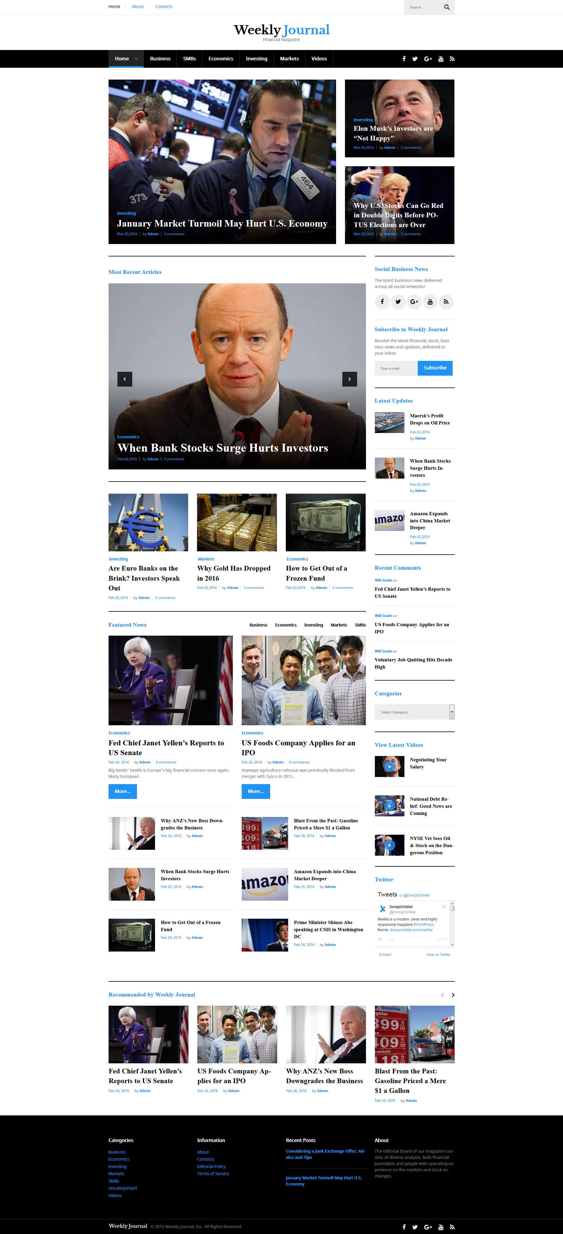 Responsivt Financial News & Magazine WordPress-tema #58497 - skärmbild